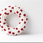 Red and White Christmas Wreath. Christmas decor. Felt ball Wreath Holiday decor