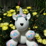 Unicorn soft toy, magical friend for child, Christmas. Hand made crochet softie.
