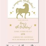 4x6 unicorn gold and blush pink birthday party invite JPEG digital download