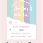 4x6 rainbow birthday party invite JPEG digital download