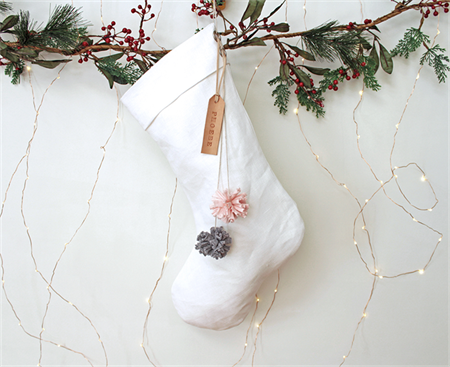 White Linen Christmas Stocking with Leather name tag and Pom Poms