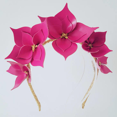 RASPBERRY PINK Crown Headband, Leather Crown,Leather Flower Headpiece