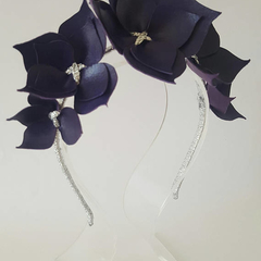 Purple Crown Headband, Leather Crown,Leather Flower Headpiece, Wedding Fascinato