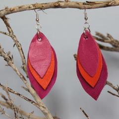 Hot pink, orange recycled leaf earrings