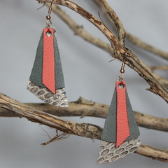 Coral and grey recycled leather earrings
