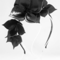 B L A C K Leather Crown, Headband, Leather Flower Headpiece, Wedding Fascinator