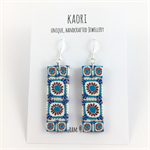 Handcrafted mosaic tiles polymer clay earrings sterling silver hooks