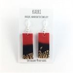 Handcrafted gold leaf, red and black polymer clay earrings sterling silver hooks