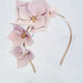 Dusk Pink Leather & Gold Crown, Headband, Fascinator