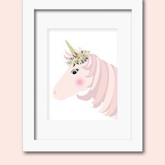 A4 blush pink unicorn print wall art