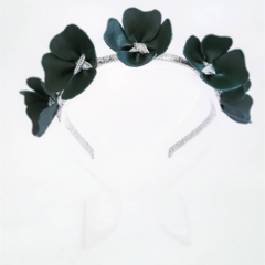 Sweethearts Forest Green Leather & Silver Crown, Headband, Fascinator