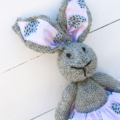 Pippa the Knitted Bunny Rabbit Toy with Pink Hedgehog Skirt with Pompom trim