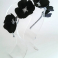 Sweethearts Black Leather & Silver Crown, Headband, Fascinator