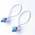 Blue swirl glass and sterling earrings by Sasha + Max studio
