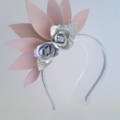 Pink & Silver Leather Crown, Fascinator,Headpiece