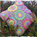 Handmade Crochet Cushion Cover. 'Colourful Flowers' READY TO SHIP NOW...