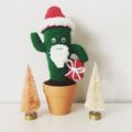 Crochet Santa Cactus in terra-cotta pot