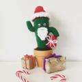 Crochet Santa Cactus in terra-cotta pot