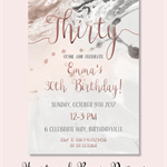 4x6 marble pink and grey invite JPEG digital download