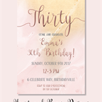 4x6 marble blush and gold birthday invite JPEG digital download