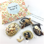 Make it yourself 3 necklaces gift kit-wooden beads & cream ceramic bird pendant