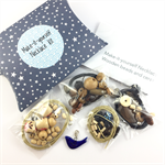 Make it yourself 3 necklaces gift kit-wooden beads blue ceramic bird pendant