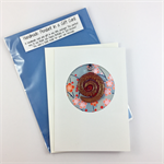 Glass pendant in a gift card: Christmas, Birthday or Thank you- red spiral