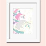 A4 3 unicorns blush pink  print wall art
