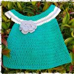 Handmade Crochet Dress for a Newborn Baby.... GREEN Ready NOW...