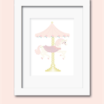 A4 unicorn carousel horse blush pink  print wall art
