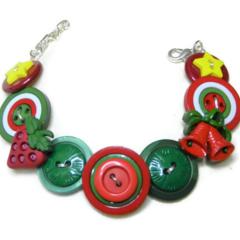 Beaut Buttons - Christmas bells button bracelet