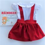 Christmas Red Suspender Skirt, Girl, Toddler