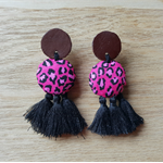 Leather Boho Dangle Stud Earrings Animal Print Tassels By Tenasee and Teneil
