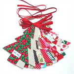 Christmas Tree Garland, Christmas Designer Fabrics, Double Sided, Red Ties