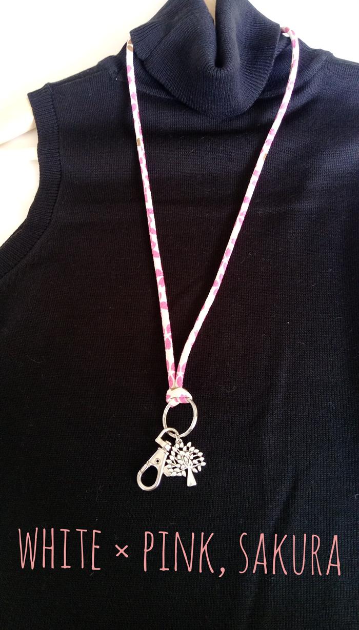 Lanyard   ID Holder Necklace - SAKURA   Japanese Kimono cord   Keyring ... b5c793fd6