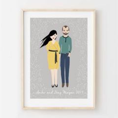 Personalised Couples Portrait. Custom digital illustrated design. Gift Idea