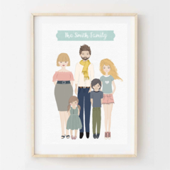 Personalised Family Portrait. Custom digital illustrated design. Great gift Idea