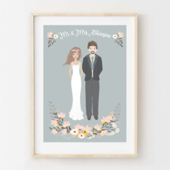 Personalised Wedding Portrait. Custom digital illustrated design. Gift Idea