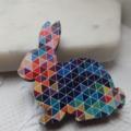 Mulit Coloured Harlequin Print Wooden Rabbit Brooch