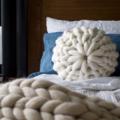 Chunky knit merino round cushion