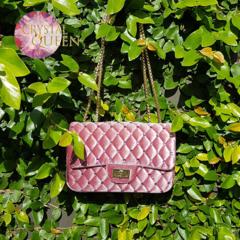 Luxurious velvet bag, embellished with Swarovski crystals - Pink