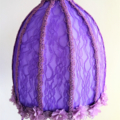 Lampshade, fabric, purple, lace overlay, lilac embroidered flower trim, bedside.