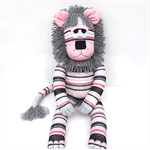 'Lana' the Sock Lion - pink grey black and white stripes - *READY TO POST*