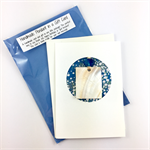 Shell pendant in a gift card: Christmas, Birthday or Thank you- white and blue