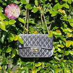 Luxurious velvet bags, embellished with Swarovski crystals - Grey
