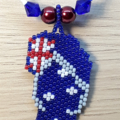 Australian Flag Thong Beaded Pendant Necklace Aussie Oz