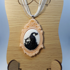 Peacock Cameo Necklace Halloween