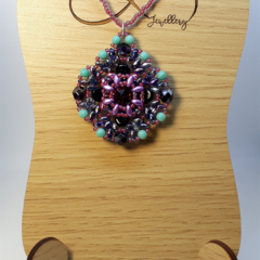Purple Swarovski Rivoli Beaded Pendant Necklace