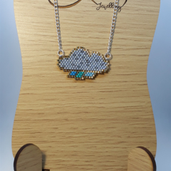 Raining Cloud Beaded Necklace Storm Winter Summer Nature