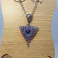 Blue and Red Triangle Beaded Rivoli Swarovski Pendant Necklace